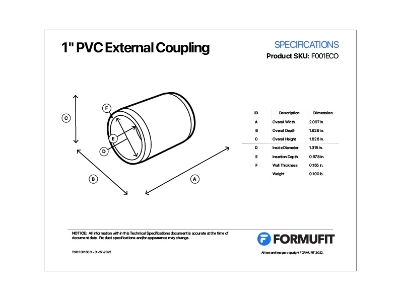 1 in. External Coupling TSD