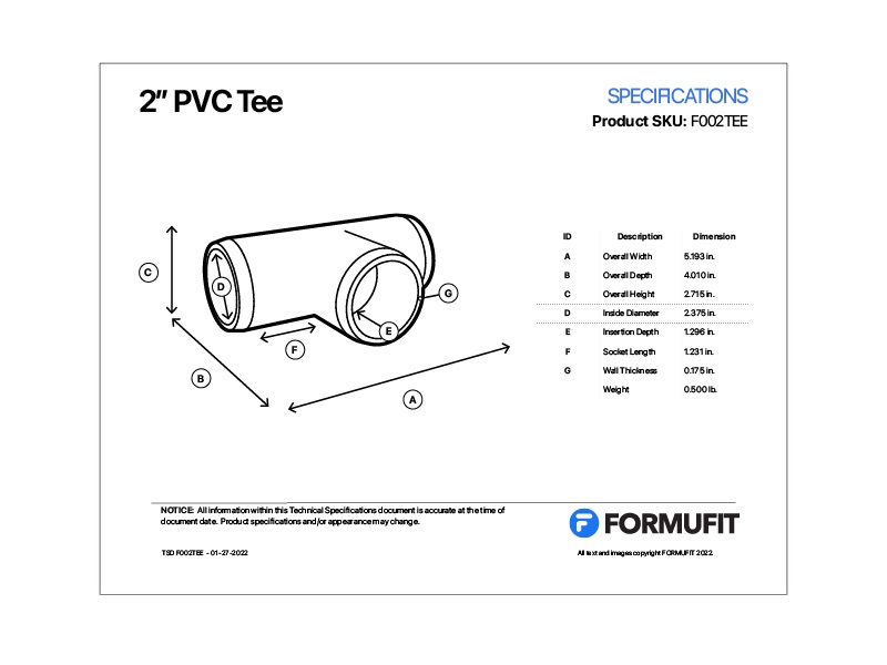 2 in. PVC Tee TSD