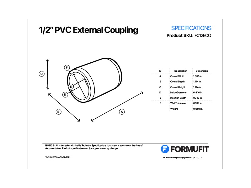 1/2 in. External Coupling TSD