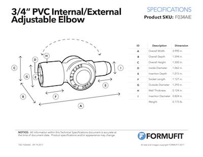 3/4 in. Internal Adjustable Elbow TSD