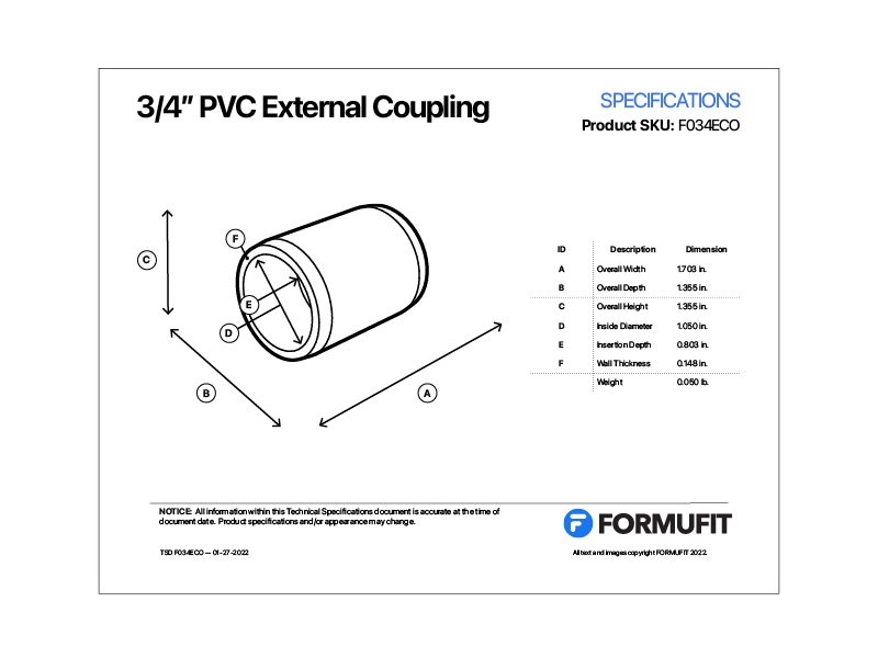 3/4 in. External Coupling TSD