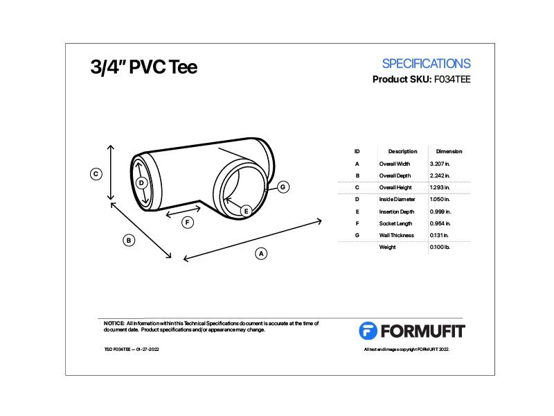 3/4 in. PVC Tee TSD