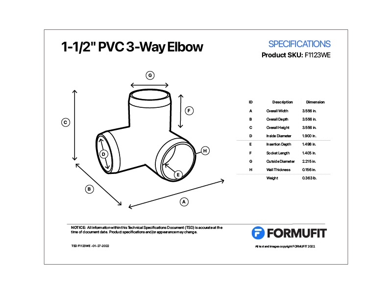 1 in. 3-Way Elbow TSD