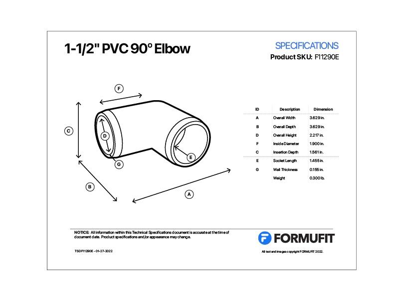 1-1/2 in. 90 Degree Elbow TSD