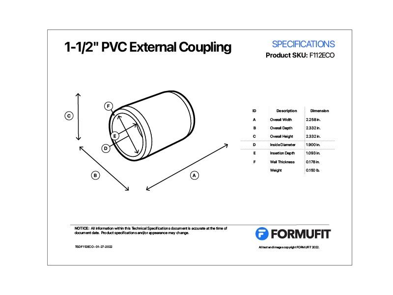 1-1/2 in. External Coupling TSD