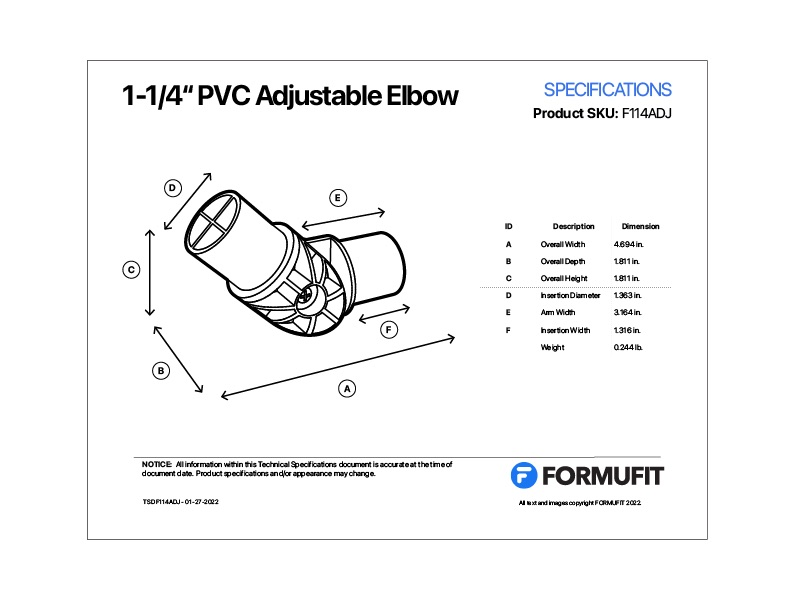 1-1/4 in. Adjustable Elbow TSD