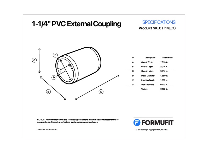 1-1/4 in. External Coupling TSD