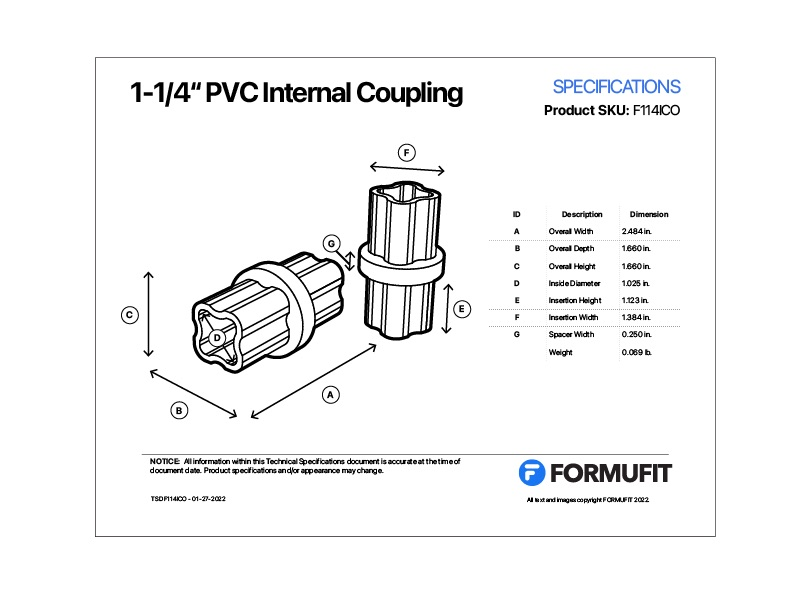 1 in. Internal Coupling TSD