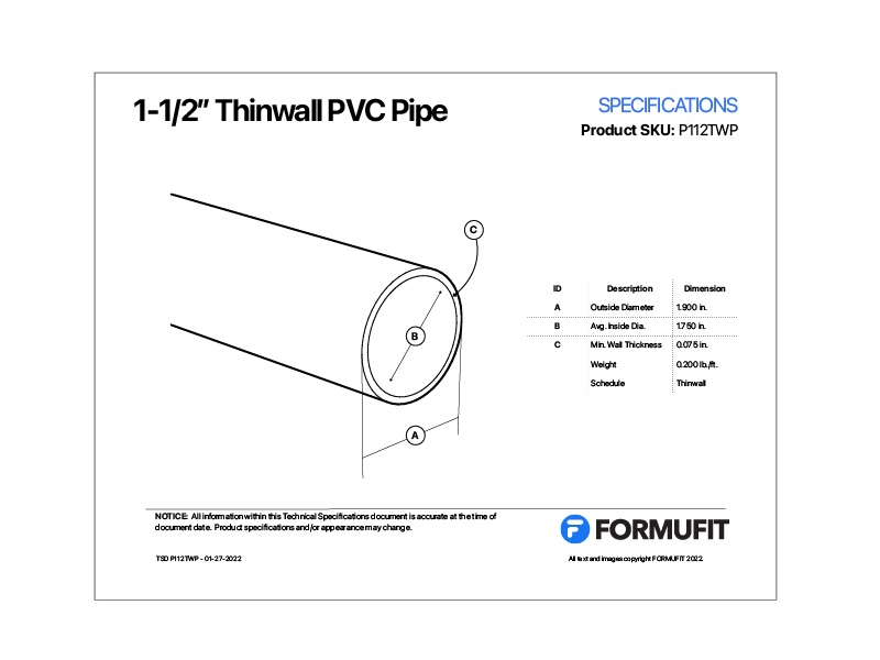 1-1/2 in. Thinwall PVC Pipe TSD